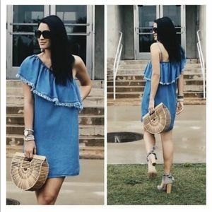 Splendid Women's One Shoulder Fringe Denim Dress